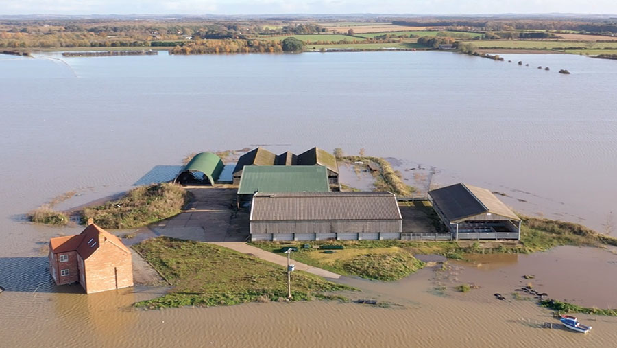Aerial shot of flooded farm