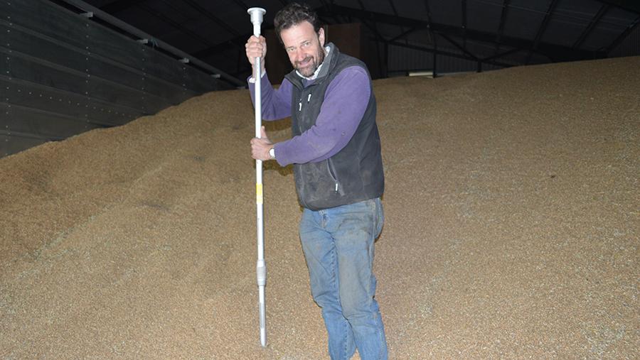 Robert Spencer with the grain spear he uses for sampling