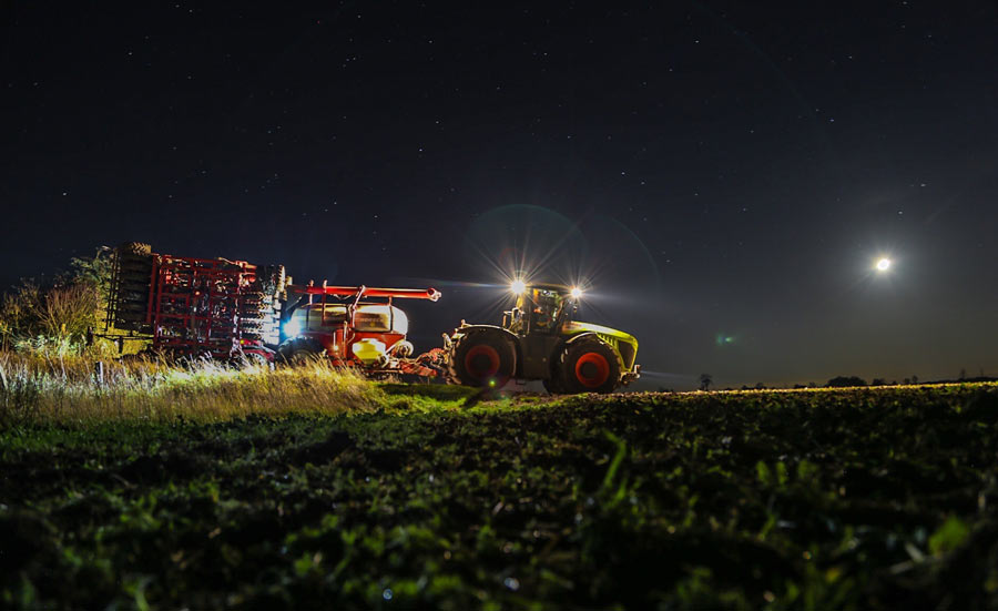 Drilling wheat at night