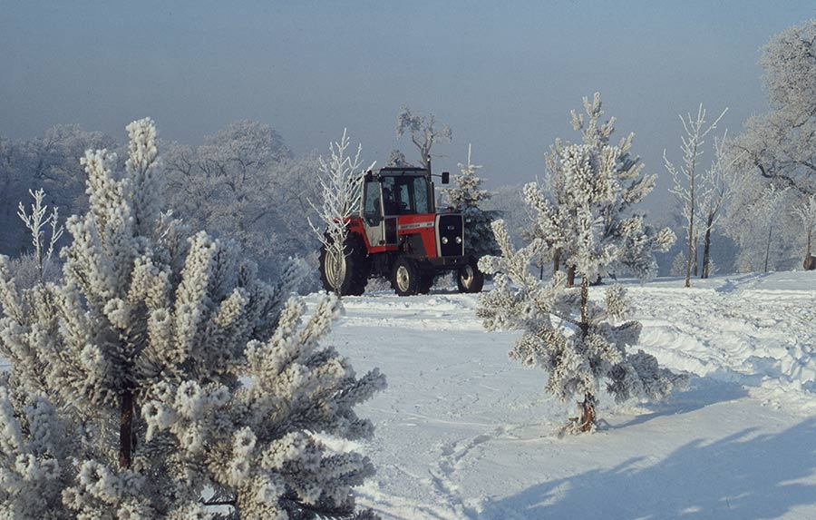Tractor in snow setting