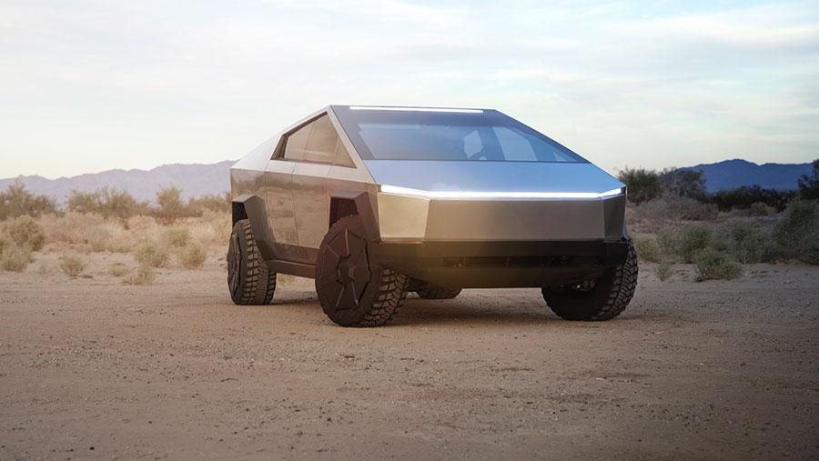 Tesla Cybertruck on the road