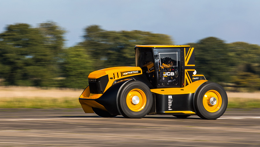 The JCB Fastrac speeds towards the Worlds Fastest Tractor title