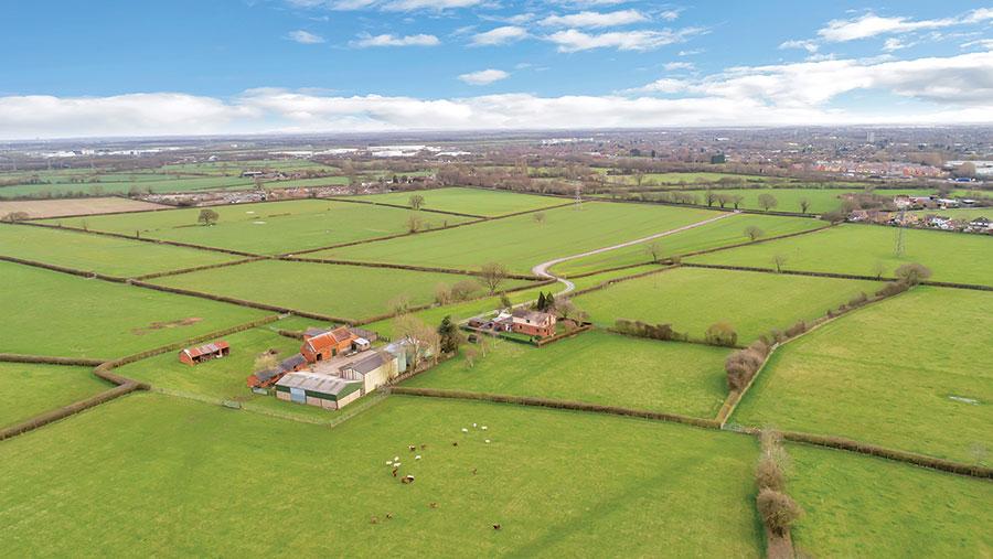 Aerial shot of Sowe Field Farm