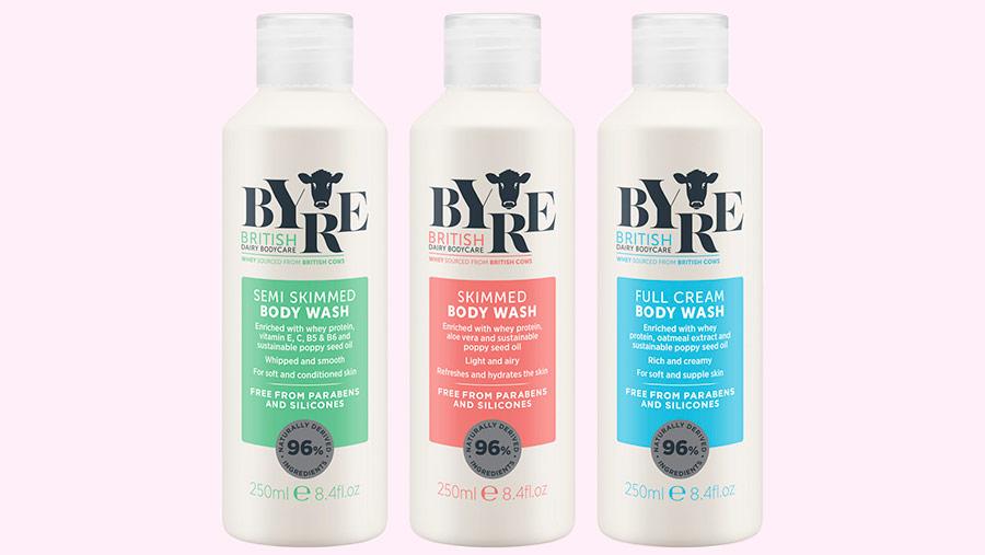Bottles of Byre body wash