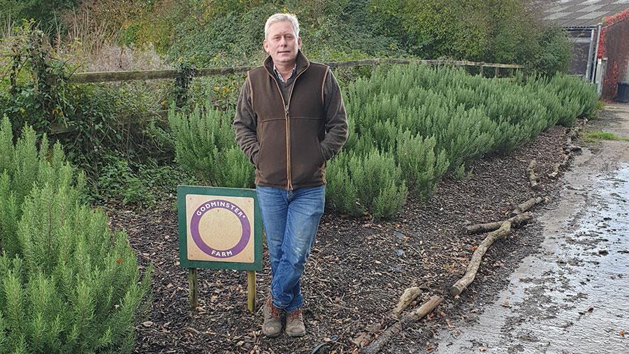 Peter Cheek in a field