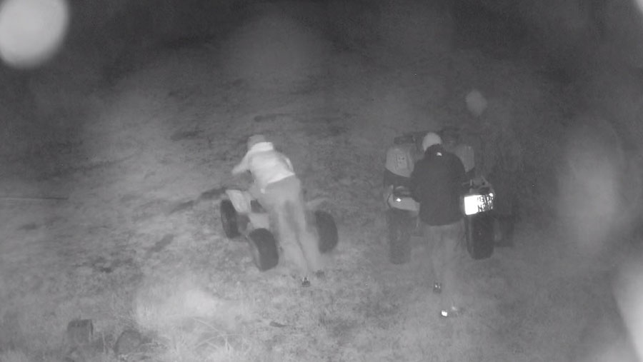 A CCTV image of the quad bikes being stolen
