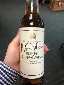 Bottle of whisky signed by Boris Johnson