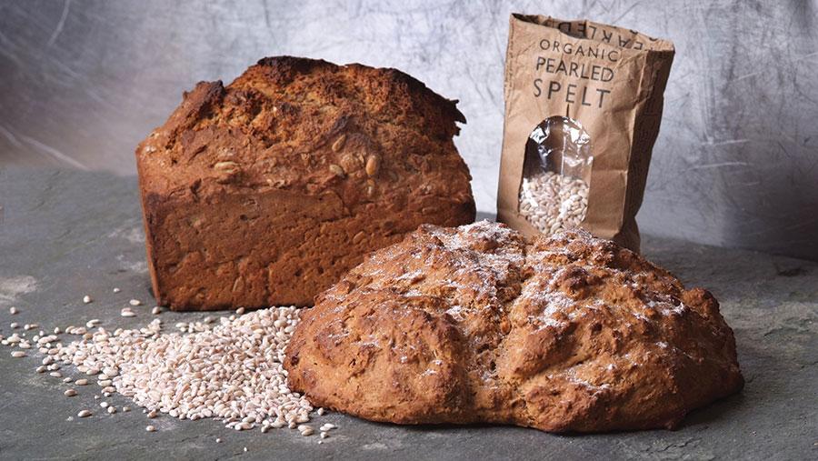 Loaves of spelt bread and bag of spelt