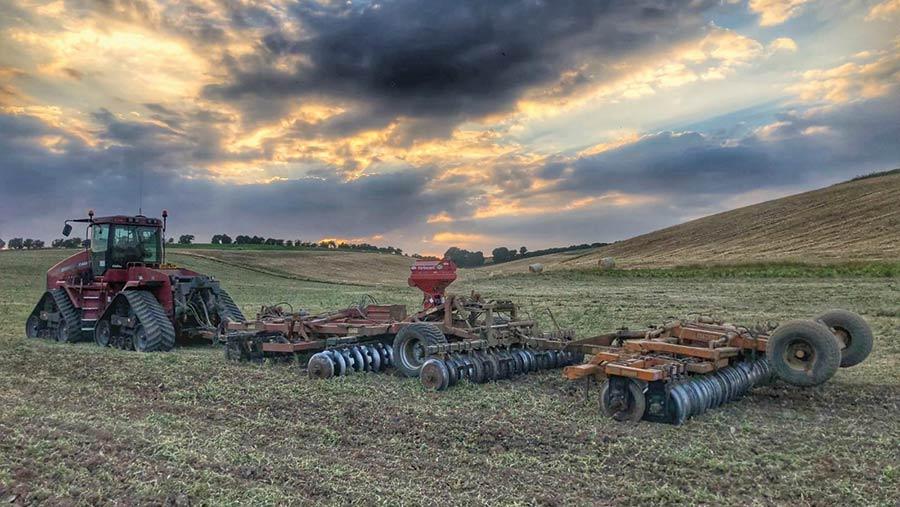 Cultivating at Mark Stubbs' farm