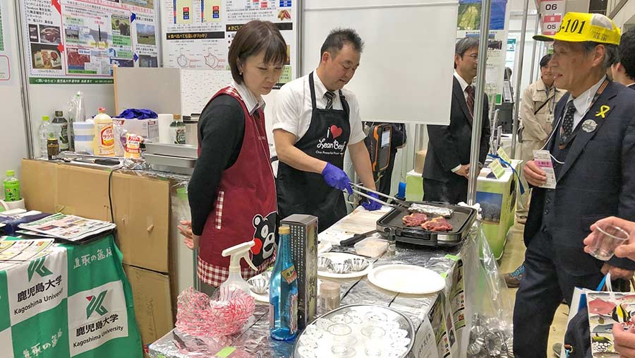 Japanese lean beef being cooked in supermarket