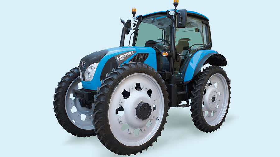 The Landini 5-100 HC has equal size wheels all round with up to 44in tyres for high clearance operation in arable and commercial horticulture crops