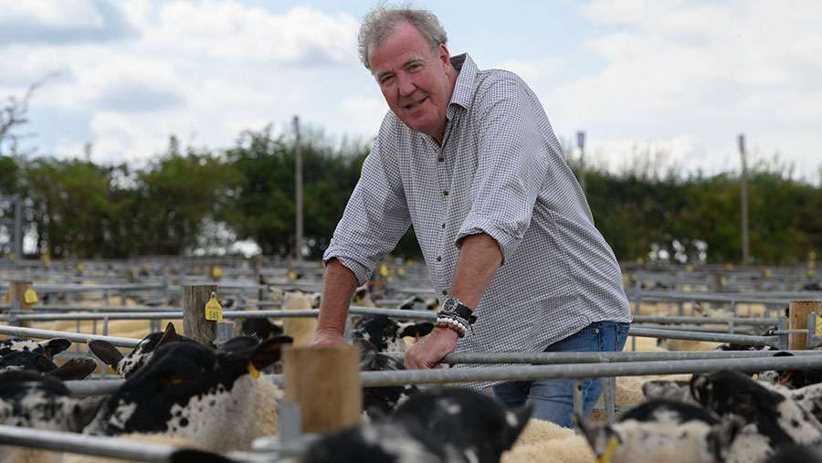 Jeremy Clarkson with sheep
