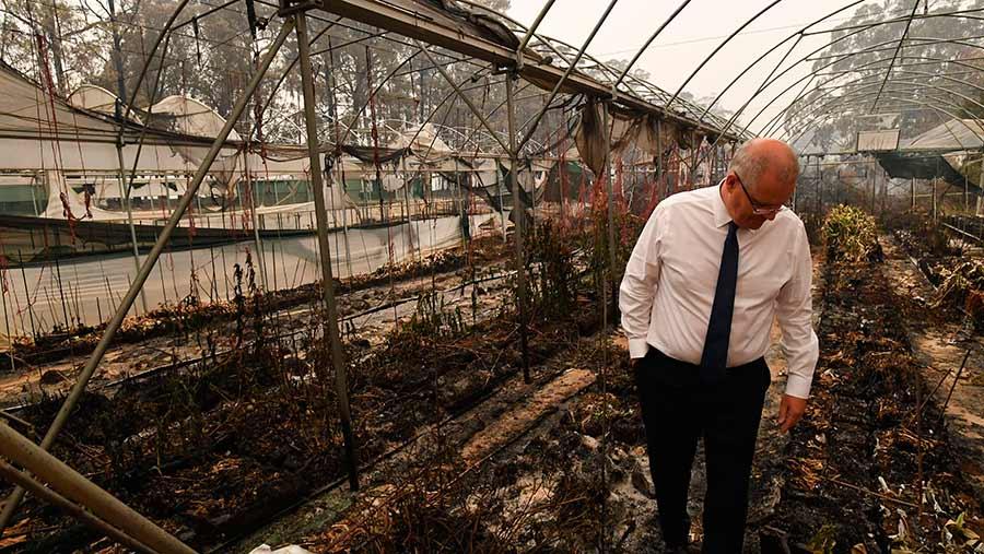 Australian PM Scott Morrison at a damaged flower farm