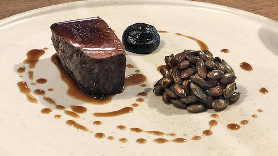 Falllow deer saddle dish at The Black Swan at Oldstead