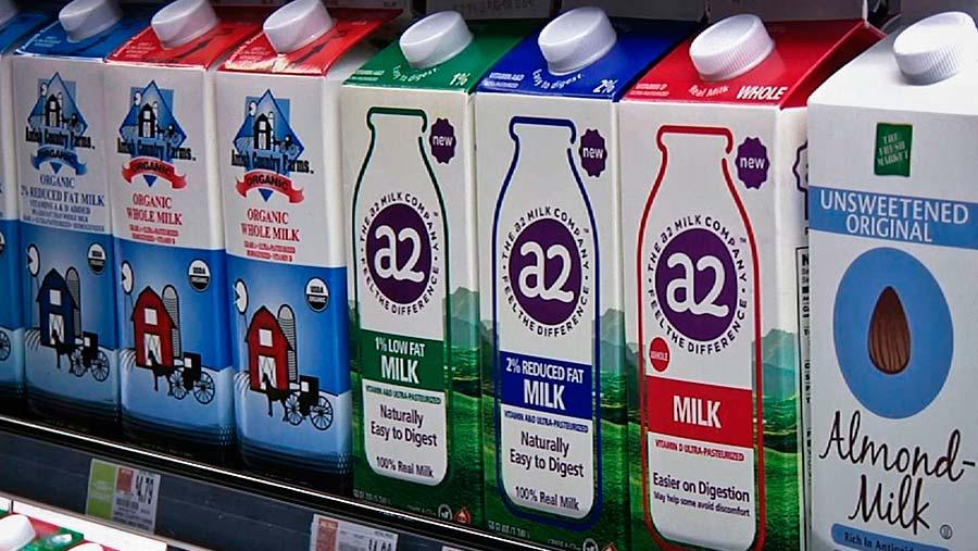 A2 milk on sale in a US supermarket © Michael Hill/AP/Shutterstock