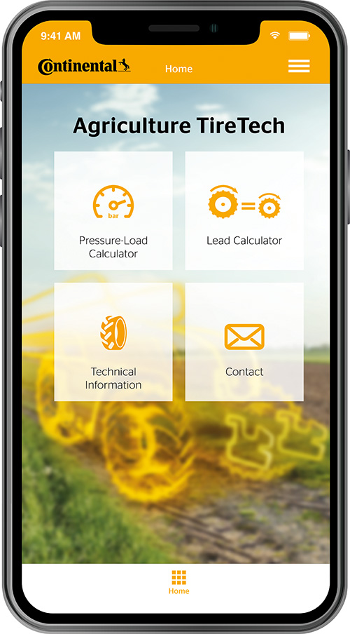 Continental Agriculture tyre app shows on phone