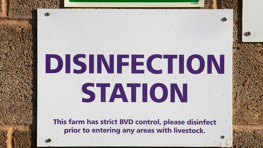 "Sign on a farm that reads ""disinfection station"""