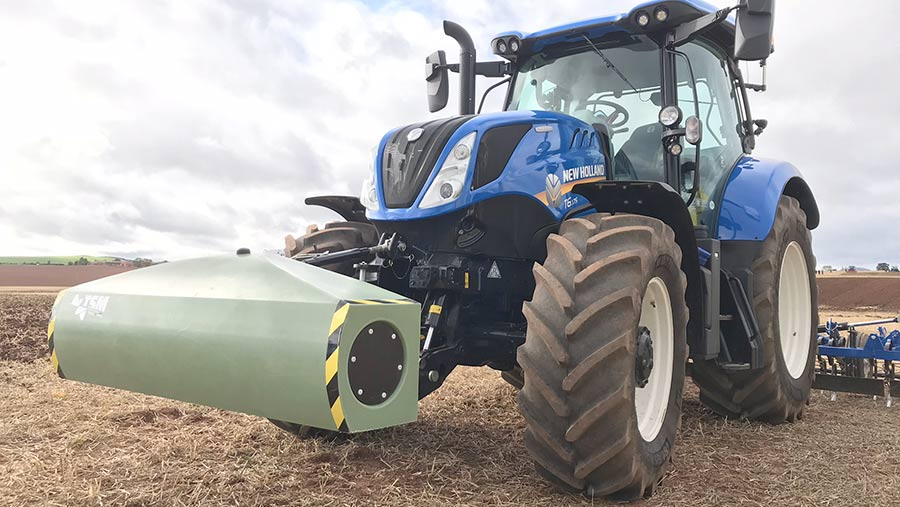 Geoprospectors Topsoil Mapper on a New Holland tractor