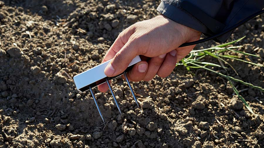 The Meter system probing soil