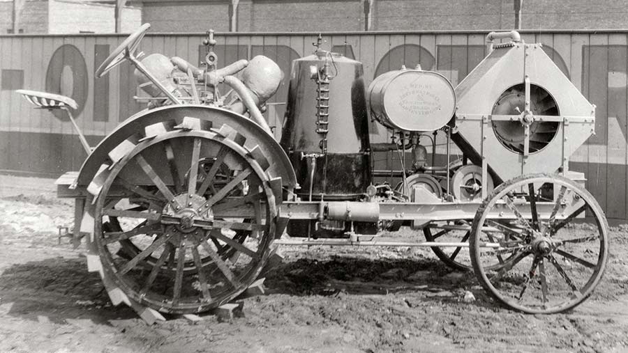 An early version of the International steam tractor. The box at the front is the condenser