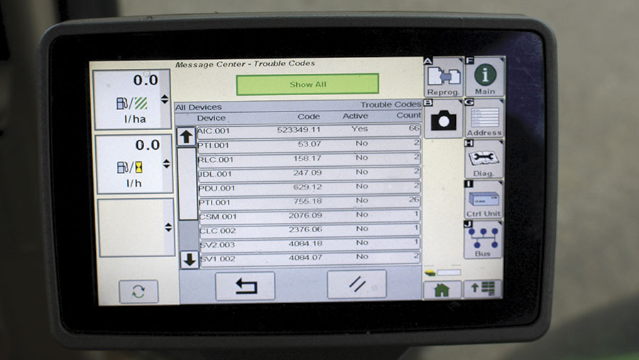 Diagnostics screen