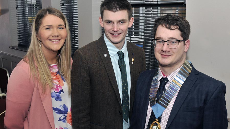 Dewi Parry (right) with Rachel Goldie and Ed Dungait
