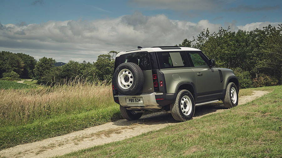 Landrover Defender on the road