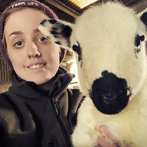 Ffion Hooson with lamb