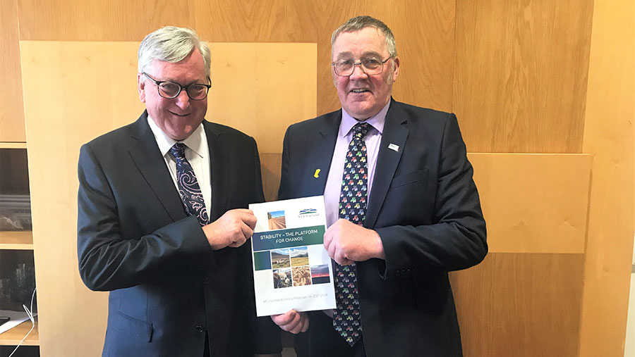 Andrew McCornick  (right) hands over the NFUS policy document to Fergus Ewing