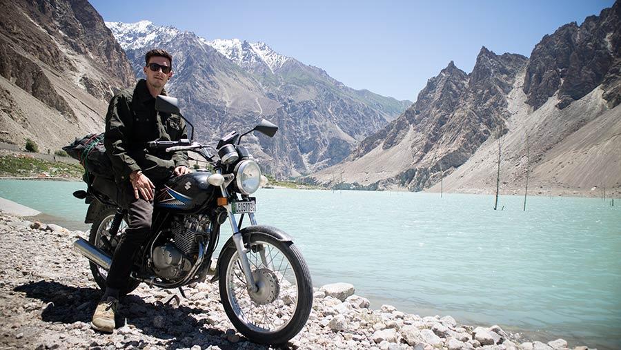 Peter Burn on his motorbike in Pakistan
