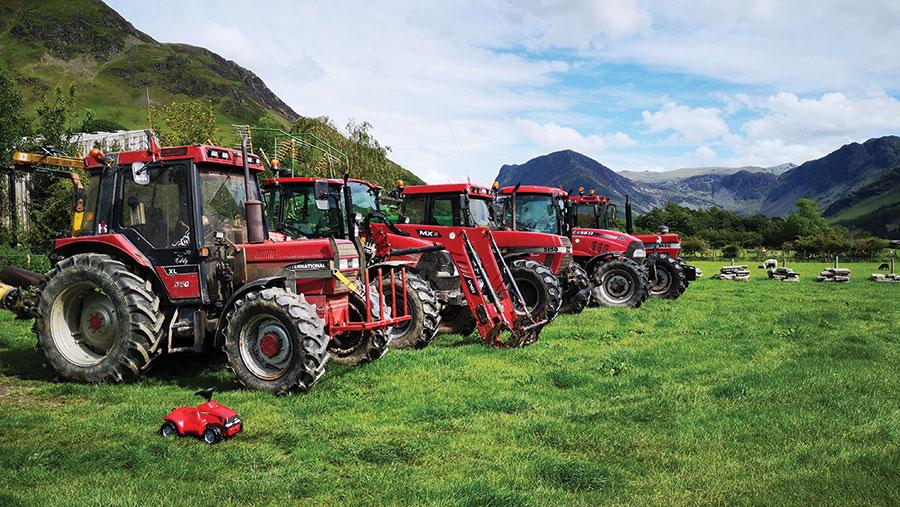 Line-up of tractors