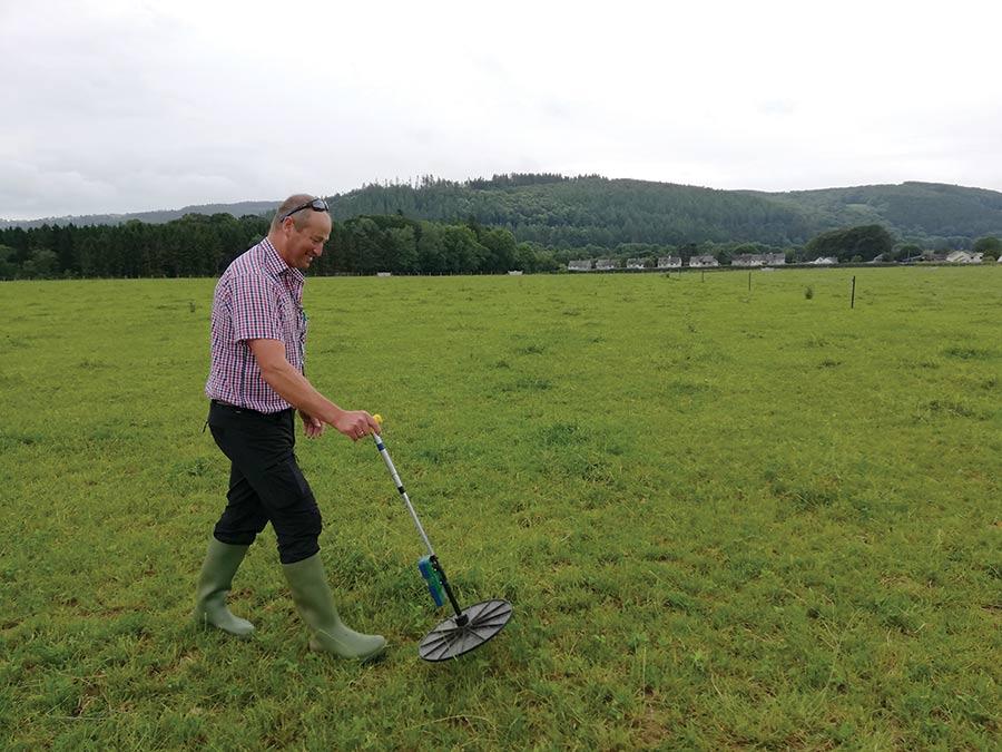 Nigel Howells applying foliar fertiliser to grass