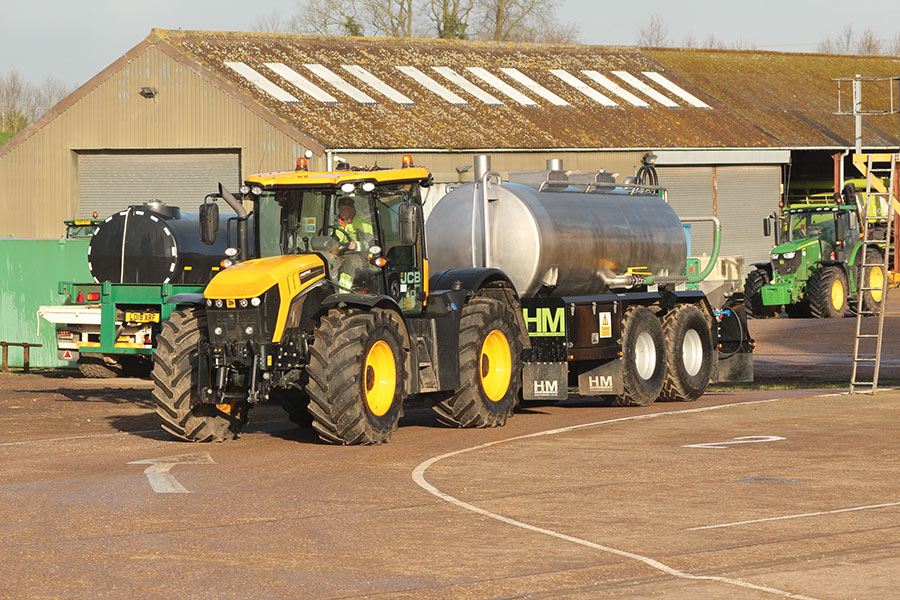 Bowser being pulled by tractor