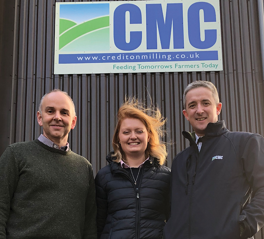Pete Davis, Harriet Smith and Will White at Crediton Milling's Devon HQ