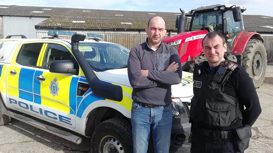 Farmer Mark Chandler and PCSO Colin Booker