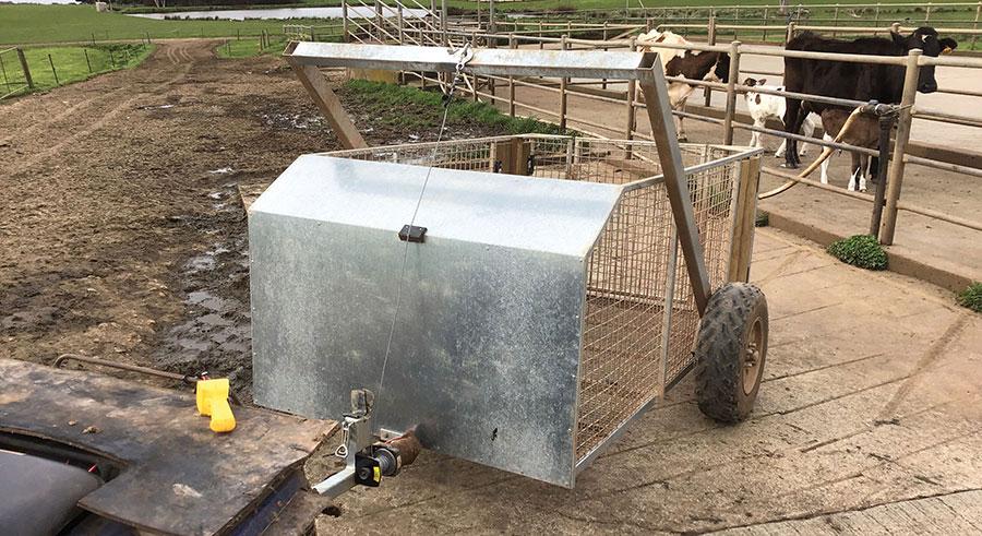 Rob Frampton's calf carrier