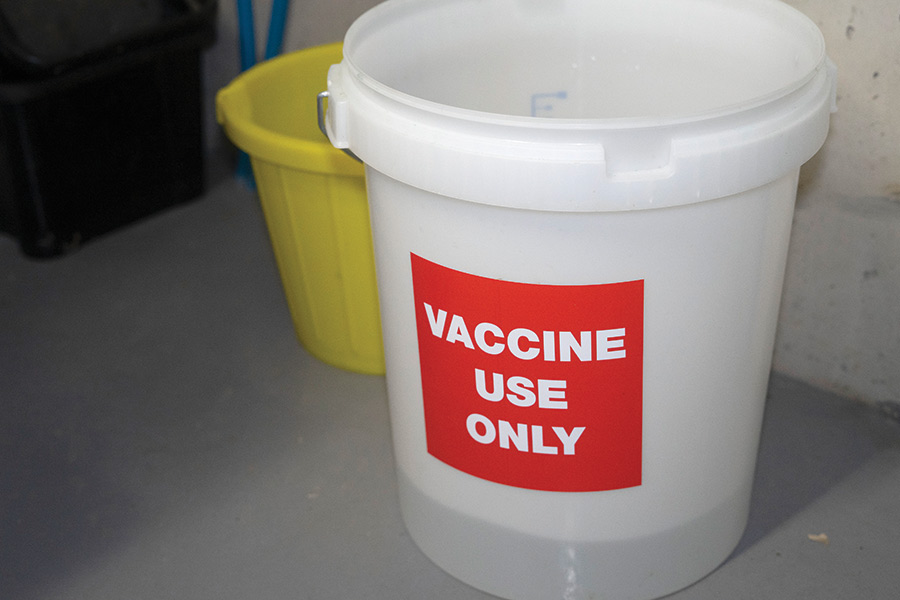 Bucket labelled vaccine use only