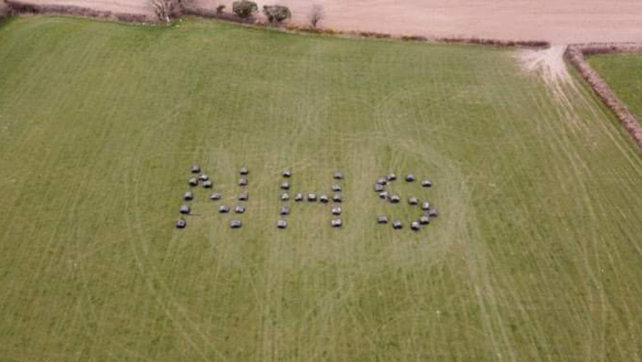 NHS spelt out in field
