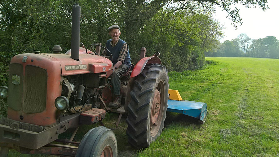 Alec Burrough on his tractor