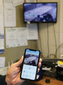 CCTV footage on mobile and screen
