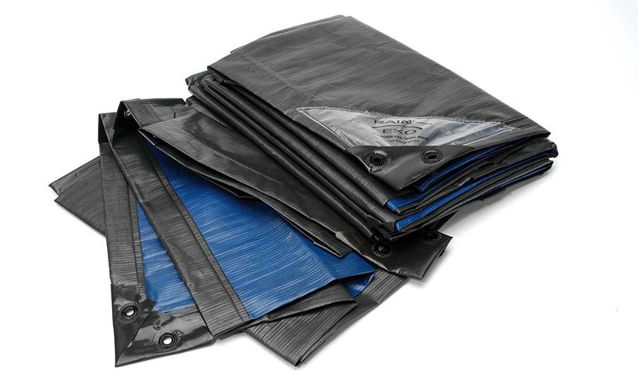 Folded tarpaulins