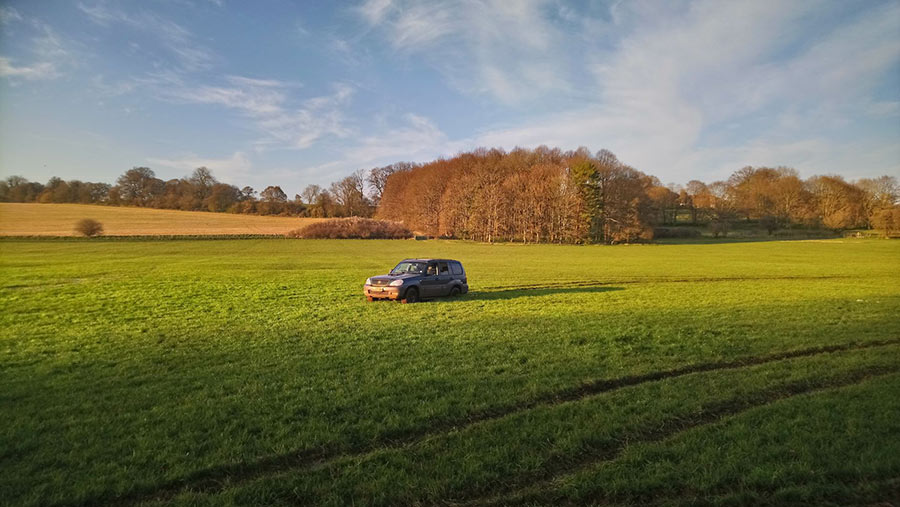 Hyundai Terracan stuck in the middle of a field