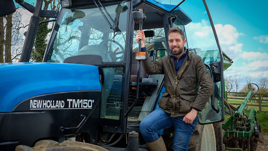Tris Baxter-Smith on a tractor