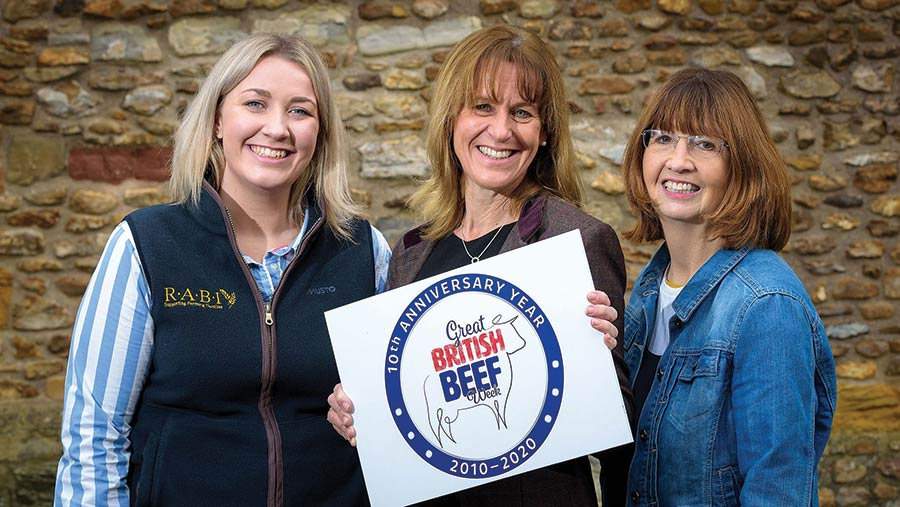 Rabi's Laura Ratcliffe, NFU president Minette Batters and Ladies in Beef founder Jilly Greed