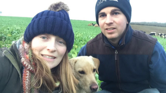 Charlotte Brunt and Ben Turner with their dog