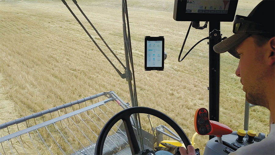 Farmer in cab with TRX system