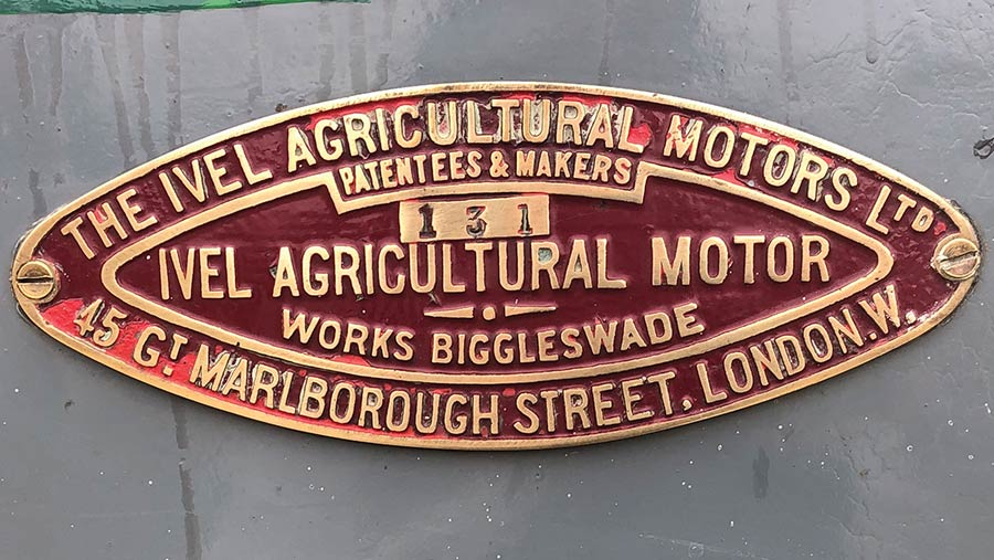 Brass manufacturer's plate on the side of the Ivel