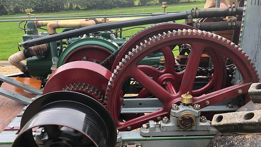 Close-up of tractor's cast-iron gear wheels