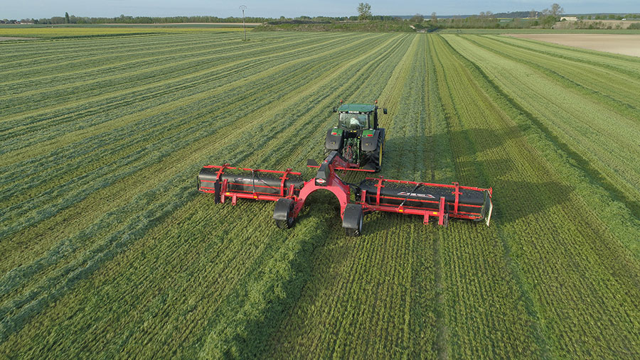 Aerial view of MERGE-MAXX-1090 working in field