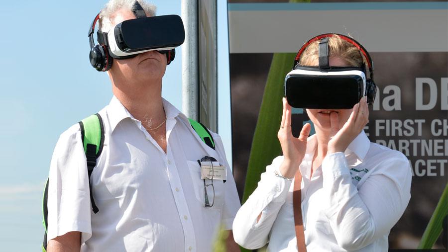 People wearing virtual headsets
